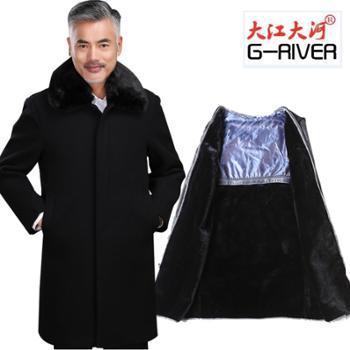 大江大河G-RIVER毛呢外套宽松直筒大码夹克男式上衣可脱卸内胆长款风衣爸爸装