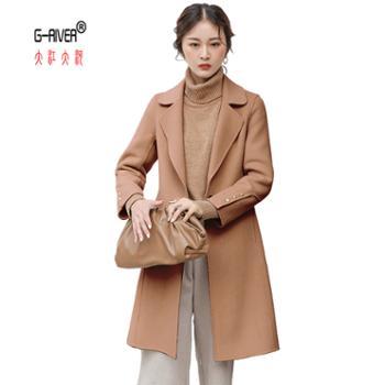 大江大河G-RIVER 冬季新款潮流百搭减龄个性时尚宽松洋气翻领双面羊绒大衣