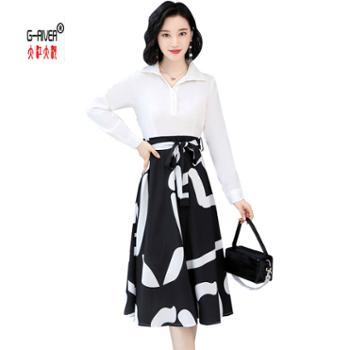 大江大河G-RIVER白色衬衫领拼接黑色花纹简约女款连衣裙