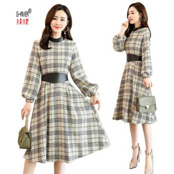 G-RIVER大江大河新款时尚千鸟格格子连衣裙长袖优雅个性显瘦裙子