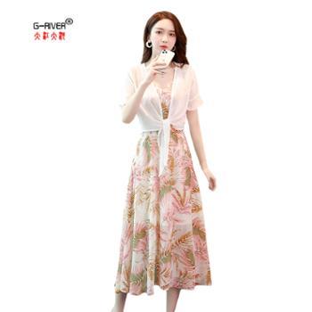大江大河G-RIVER 夏季时尚雪纺印花中长款连衣裙子套装/套裙