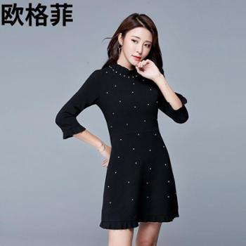 欧格菲2017精品秋季新款荷叶半高领喇叭中袖钉珠黑色修身短连衣裙