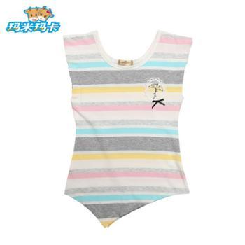 玛米玛卡童装2016夏装新款女童短袖T恤中大童夏季百搭打底条纹T恤