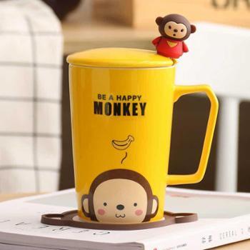 卡诺创意猫咪杯子陶瓷杯马克杯卡通情侣杯牛奶杯咖啡杯茶杯水杯带盖勺