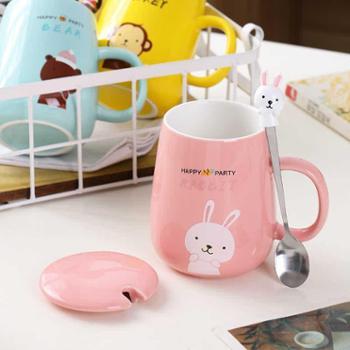 卡诺 创意卡通马克杯子陶瓷水杯可爱情侣杯咖啡牛奶杯办公室水杯带盖勺