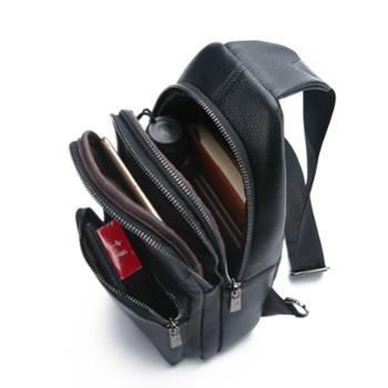 鸿岩袋鼠男包头层牛皮胸包韩版时尚真皮胸前背包多功能多口袋包
