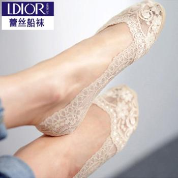 LDior/蓝黛尔春夏季性感蕾丝船袜女士防滑硅胶黑色浅口隐形船袜成人袜子1双307
