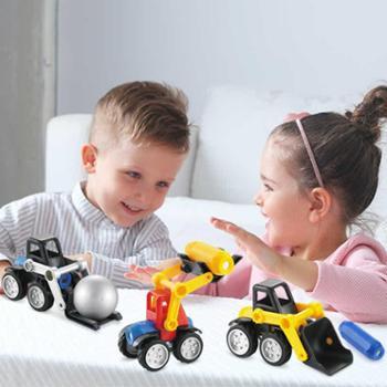贝恩施磁力车儿童玩具磁力片男孩拼装益智积木小孩玩具1-3-6周岁6969-6