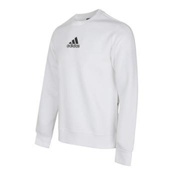 阿迪达斯卫衣男装新款运动服上衣白色休闲厚套头衫FJ0253