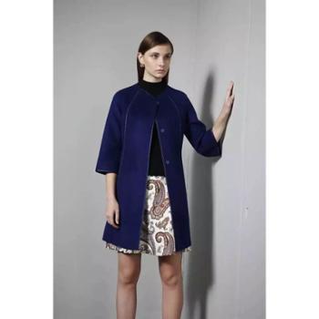 DE戴瑞斯公主裙八分袖中长款系腰带修身显瘦双面羊绒呢大衣
