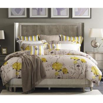 MINE/寐华尔兹之约天丝印花四件套夏款床品1.8米床单床笠款