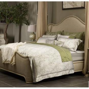 MINE/寐青柠真丝混纺四件套真丝长绒棉套件1.8米床品床笠床单版