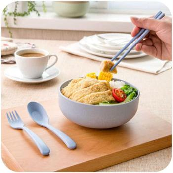 小麦秸秆泡面碗米饭碗环保可降解大公碗汤碗送餐具三件套厨房用具