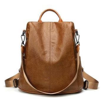 采宁双肩包背包女韩版个性学生街头防盗书包百搭时尚休闲软皮背包书包旅行包购物包