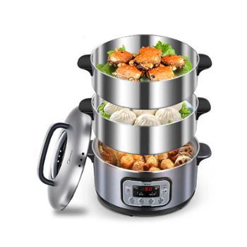 美的多功能电蒸锅不锈钢三层超大容量蒸笼家用小蒸菜火锅生活电器厨房用具ZG28Power501