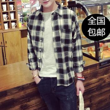 日系复古潮牌春秋小清新小格子衬衫韩版学生水洗棉麻男士长袖衬衣
