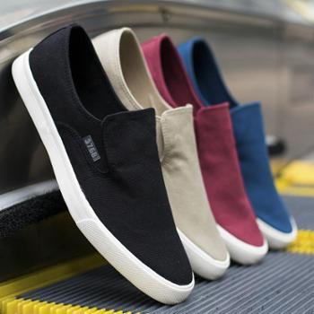 鞋子男帆布鞋春季低帮韩版潮鞋男士休闲鞋百搭学生一脚蹬懒人布鞋