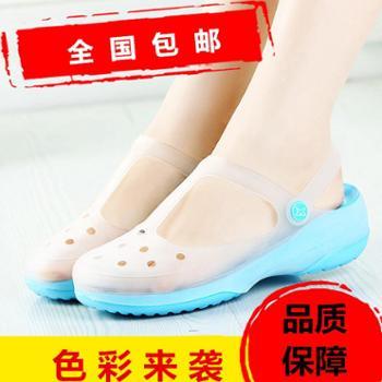 2017新品变色玛丽珍一代女沙滩鞋女凉拖变色洞洞鞋特价包邮