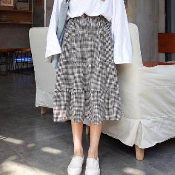 夏季2017新款韩版复古百搭松紧腰百褶裙女学生中长款格子半身裙潮
