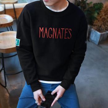 秋冬款男士卫衣圆领套头青年学生外衣服韩版修身棒球服 JC