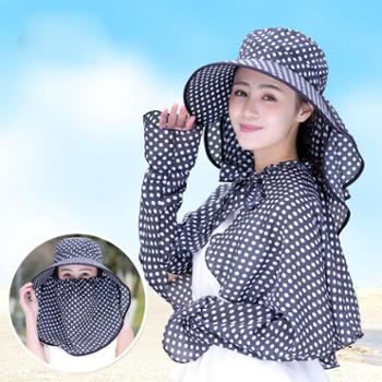 遮阳帽防晒帽遮脸带披肩大沿帽护颈夏天户外出游太阳帽骑车帽子女