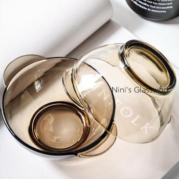 2件套北欧茶色钢化玻璃碗盘米饭碗双耳沙拉可微波碗