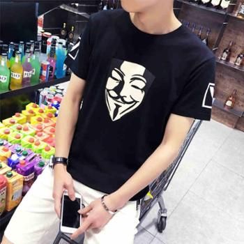夏季韩版日系男士T恤男短袖圆领修身体恤半袖衣服男装打底衫潮