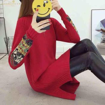 秋冬中长款民族风套头韩版大码毛针织衫女装新款圆领针织毛衣裙潮