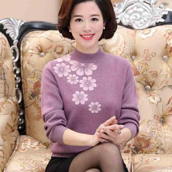 中年女秋装针织打底衫妈妈装毛衣40-50岁中老年女装冬装加厚上衣