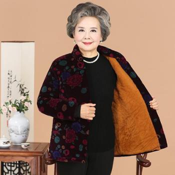 中老年人女装冬装外套60-70-80岁老人棉服大码奶奶装加绒加厚棉衣
