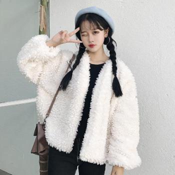 2017秋冬新款韩版羊羔绒宽松显瘦上衣百搭保暖短款毛毛外套女学生