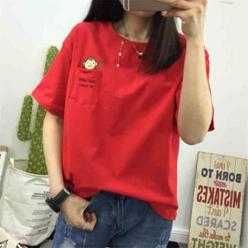 红色t恤女短袖2018新款宽松韩版学生夏天衣服百搭上衣半袖ulzzang