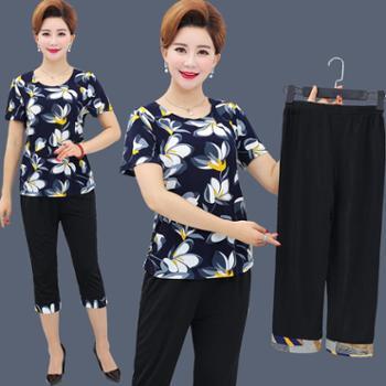 中老年女装夏装短袖t恤上衣服40-50岁2018新款中年人妈妈夏天套装