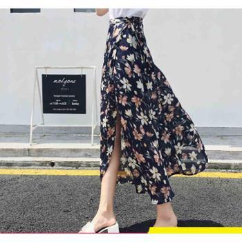 雪纺半身裙女夏韩版百搭一片式小碎花系带时尚高腰中长款沙滩裙子