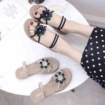 魅之格新款平底韩版休闲时尚花朵学生一鞋两穿女凉鞋