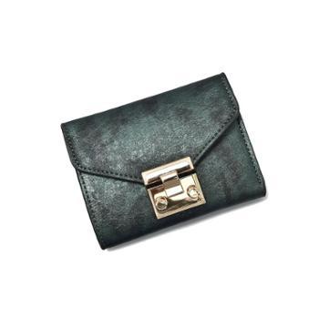 新款韩版潮钱包女短款欧美复古锁扣ins百搭钱夹女卡包零钱包