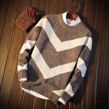 秋冬季毛衣男韩版个性套头潮流圆领针织衫青少年修身加厚线衣男装