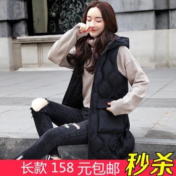 秋冬羽绒棉马甲女新款韩版修身显瘦中长款马夹棉衣棉服外套潮