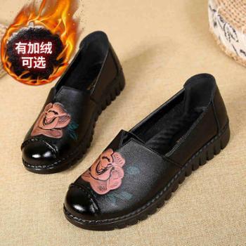 妈妈鞋单鞋防滑中老年女鞋舒适软底加绒奶奶鞋老年老人皮鞋女秋冬
