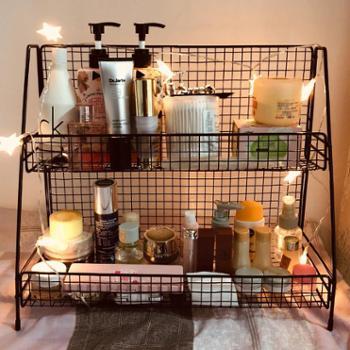 铁艺置物架化妆品收纳架ins厨房架书桌上双层宿舍神器桌面置物架