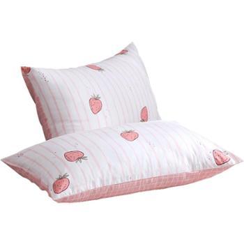 莫凡全棉枕套一对 纯棉枕套一对装48 74枕头套单人学生枕芯套