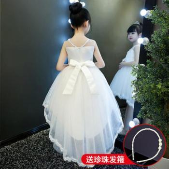 公主裙女童蓬蓬纱儿童礼服小主持人女孩钢琴演出服花童拖尾婚纱夏