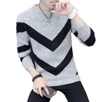 男士长袖T恤 新款秋冬季上衣服针织打底衫卫衣潮流加厚毛线衣