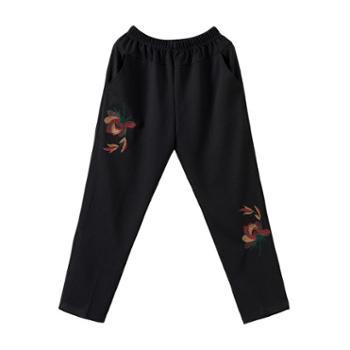 中老年女裤春秋冬长裤老太太奶奶加绒老年人宽松妈妈裤子休闲外穿