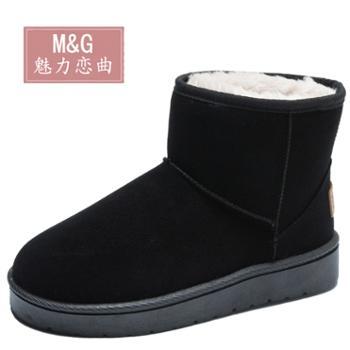 雪地靴女冬时尚棉靴短筒加绒保暖低帮面包鞋中筒雪地棉鞋