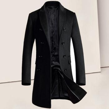 秋冬爆款毛呢大衣男中长款修身羊毛呢外套休闲男式