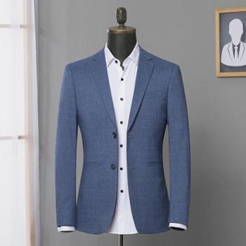 南极人新款韩版格纹单西服上衣修身青年商务休闲小西装男士外套6654
