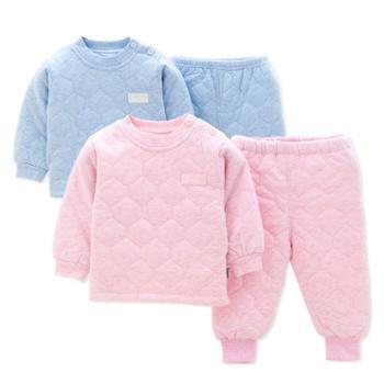 婴儿套装秋冬季夹棉男女宝宝保暖秋衣秋裤婴儿棉衣棉袄套装冬衣服