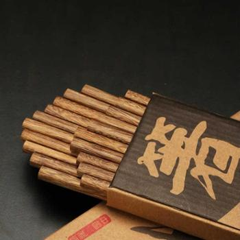 天然无油漆无蜡鸡翅木筷子套装10双 家用餐具红木筷