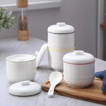 陶瓷隔水炖燕窝炖盅内胆迷你小号骨瓷家用汤盅蒸汤带盖1-2人送勺